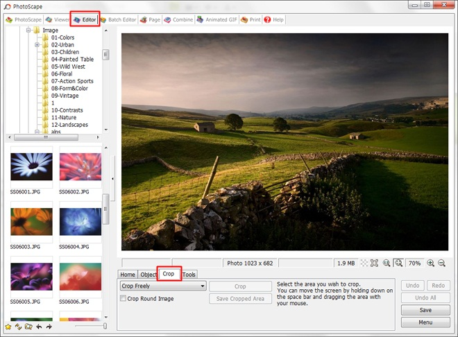Photoscape cropping tool